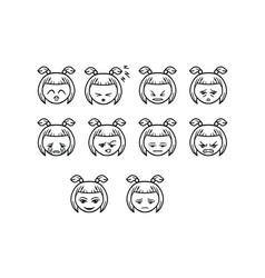 thin line emoticon icon set vector image
