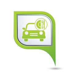 car with fast food icon on green pointer vector image vector image