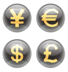 Currency buttons vector image vector image