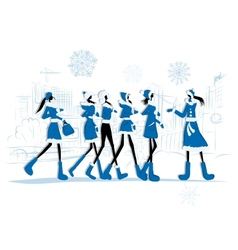 Girls in winter coats city background for your vector image