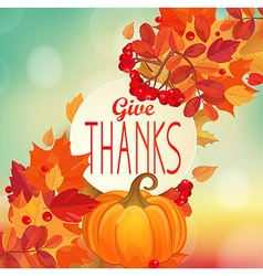 Give thanks - autumn background with pumpkin vector image