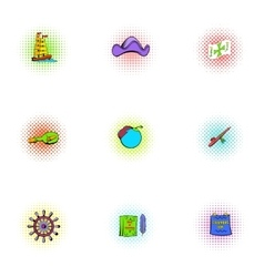 Pioneer icons set pop-art style vector image vector image
