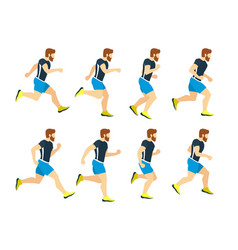 running man young athlete in tracksuit animation vector image