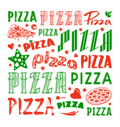 stock set of typographic pizza logo and cover vector image vector image