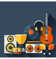Background with musical instruments in flat design vector image vector image