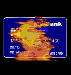 Burning credit card vector