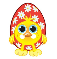 chicken with easter eggs vector image vector image