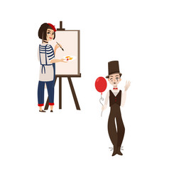 French characters typical artist and mime vector