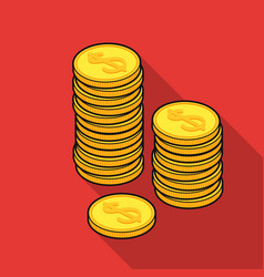 golden coins icon in flat style isolated on white vector image vector image