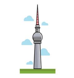high berlin tv tower among clouds cartoon vector image
