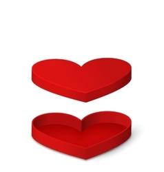 Open Red Gift Box in Heart Shaped Isolated for vector image vector image