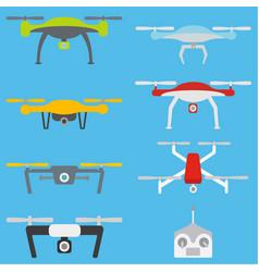set of aerial drones vector image