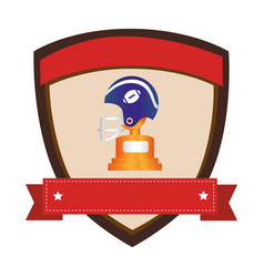 shield emblem with side view american football vector image vector image