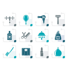 stylized personal care and cosmetics icons vector image vector image