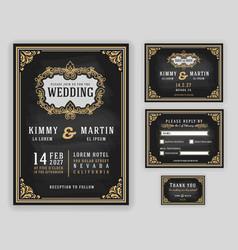 vintage luxurious wedding invitation vector image vector image