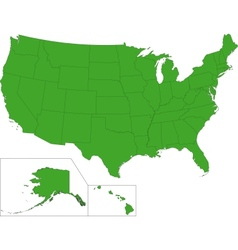 Green USA map vector image