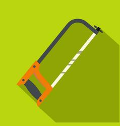 hacksaw with orange handle icon flat style vector image vector image