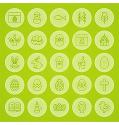 Happy easter line circle icons set vector