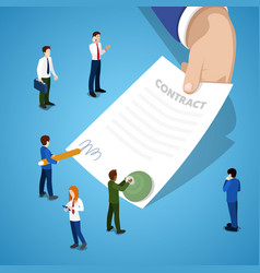 miniature business people signing contract vector image