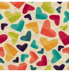 Seamless pattern with hearts on crumpled paper vector image vector image