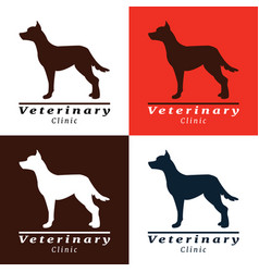 set of logos for vet clinic with dog vector image