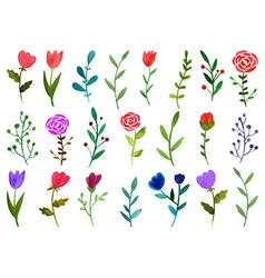 Set of watercolor doodle flowers vector image