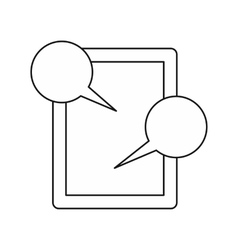 Tablet and speech bubbles icon outline style vector image vector image