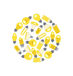 yellow light bulbs icons in circle on white vector image vector image