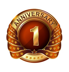 1 years anniversary golden label with ribbon vector image