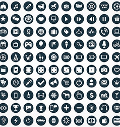 100 entertainment icons vector