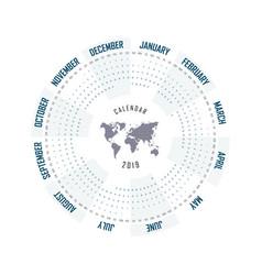 2019 calendar templatecircle calendar vector