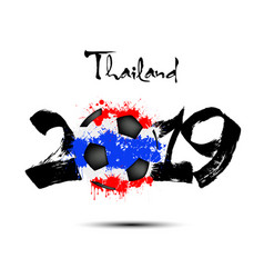 2019 new year and soccer ball as flag thailand vector image