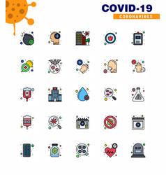 25 flat color filled line coronavirus covid19 vector image