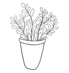 A children coloring bookpage a vase with flowers vector