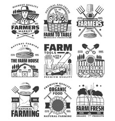 agriculture farming and gardening icons vector image
