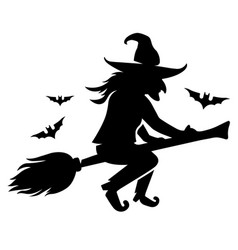 An evil witch flies on a broomstick with bats vector
