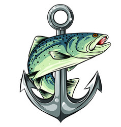 Anchor and fish white vector