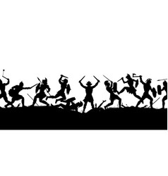 ancient battle scene silhouette vector image