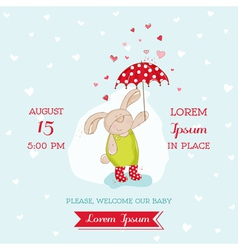 Baby Shower Card - Bunny with Umbrella vector image