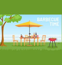 Bbq in garden cartoon summer outdoor backyard vector