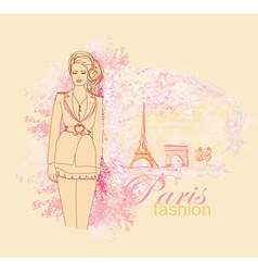 beautiful women Shopping in Paris - card vector image