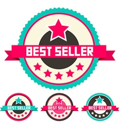 Best Seller Retro Flat Design Labels Set vector image