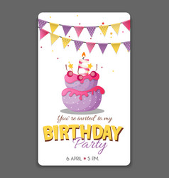 birthday party invitation card template vector image