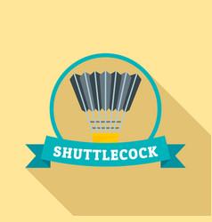 black yellow shuttlecock logo flat style vector image