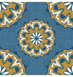 Blue and brown color mandala ornament seamless vector image