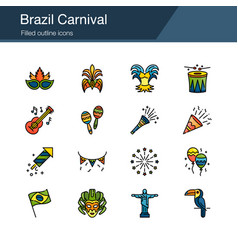 brazil carnival icons filled outline design vector image