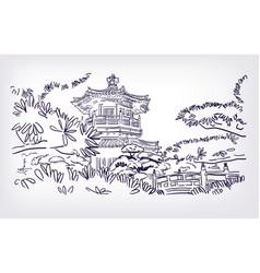 buddhist temple hong kong sketch vector image