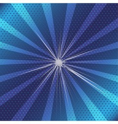 Burst rays blue background with halftone vector