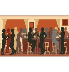Busy evening bar vector