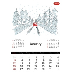 Calendar 2014 january Streets of the city sketch vector